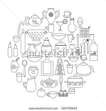 Small Picture Set Hand Drawn Kitchen Doodles Circle Stock Vector 493089286