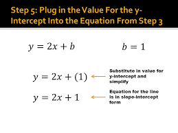 8 substitute in value for y intercept and simplify equation for the line is in slope intercept form