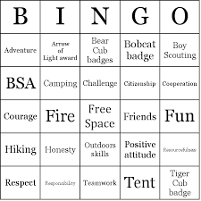 cub scout camping list boy scouts bingo cards