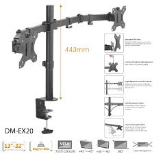boost industries universal dm ex20 dual arm monitor desktop mount for screens 13 to 32