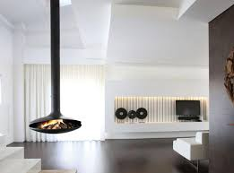 Designs Ideas:Ultra Modern Home With Hanging Fireplace And White Modern  Sofa Also Floating Media
