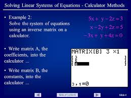 table of contents slide 4 solving linear systems of equations calculator methods example 2
