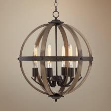 image of distressed wood chandelier globe vintage