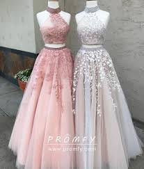 Designer Prom Dresses Beaded Two Piece Lace Appliqued A Line Prom Dresses