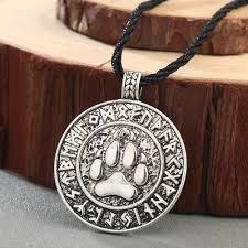 details about runes bear amulet charm necklace norse bear paw print rune pendant men necklace