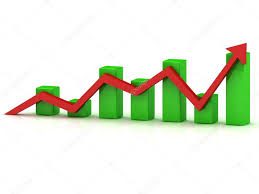 Business Growth Chart Of The Green Bars And Red Arrow