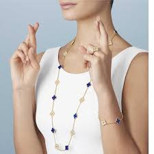 van cleef arpels vintage alhambra 50th anniversary edition in lapis lazuli and diamonds