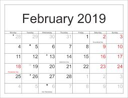 Calendar 2019 Printable With Holidays February 2019 Printable Calendar With Holidays Printable Coloring