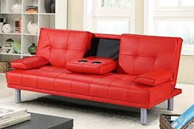 leather sofa bed. Beautiful Bed Manhattan Modern Faux Leather Sofa Bed With Drinks Table U0026 Cushions  Available In Red Inside