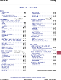 Burndy Die Chart 98148 Catalog