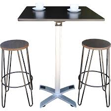 square top fold away bar table shown with hairpin bar stools