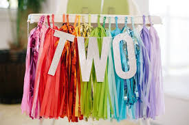 rainbows high chair banner from a balloons confetti birthday party via kara s party ideas