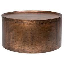 Industrial Round Coffee Table Porter International Designs Rotonde Hammered Metal Industrial