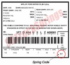 Ford Leaf Spring Code Chart Ford Spring Codes Shop Ford Leaf Springs By Code Sd