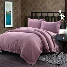 com simple once 100 linen duvet cover set embroidery solid king purple home kitchen