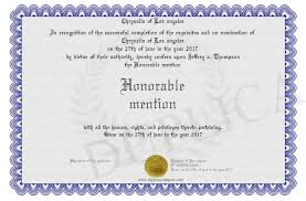 Honorable Mention Certificate Honorable Mention