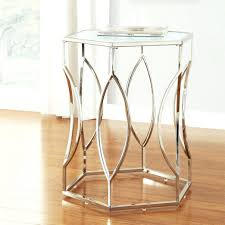 ... Large Size of Inspire Q Hexagonal Metal Frosted Glass Accent End Table  Small Round Tables Good ...