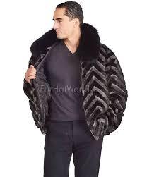 marcus black and grey v cut mink fur er jacket for men