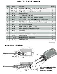 venture actuator 70 lp diagram parts list