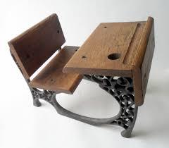 vintage small old school wood cast iron desk circa 1970s doll teddy bear