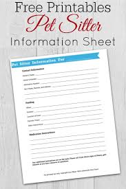 Pet Sitting Instructions Template Pet Sitter Information Sheet Printable