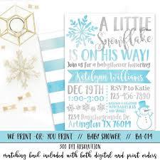 Snowflake Baby Shower Invitations Boy Snowflake Baby Shower Invitation Blue Winter Baby Shower Etsy