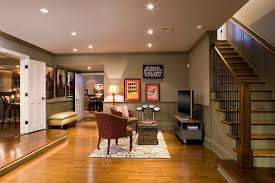 Here's the best basement floor paint: New York Paint Ideas For Basement Walls Traditional With Green Wall Contemporary Ottomans And Footstools Wood Staircase