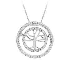 diamond tree of life pendant in 10k white gold