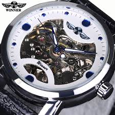 high quality luxury automatic watch promotion shop for high mens watches top brand luxury automatic watch winner black skeleton designer blue engraving clock men leather strap montre homme