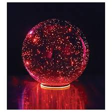 lighted mercury glass sphere red