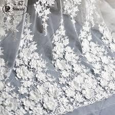 Slonovinově Bílé Svatební šaty Krajky Fabric 3d šifon Květiny