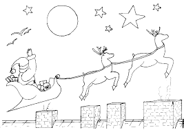 Santa Sleigh And Reindeer Coloring Pages Christmas Coloring Pages