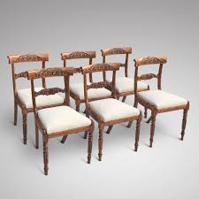 vintage chair. Set Of 6 William IV Satin Birch Dining Chairs Vintage Chair