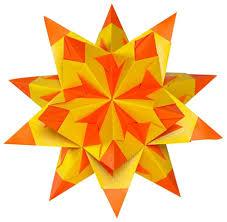 Folia Bascetta Stern Basteln Faltblätter 15 X 15 Cm Duo Papier Zweifarbig Gelb Orange
