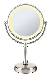 conair round shaped 3 way touch control double sided lighted makeup mirror 1x