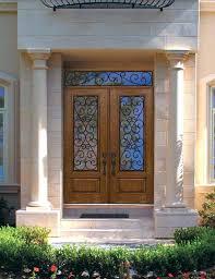 fiberglass double entry doors hung door 1 panel 3 4 lite glass with traditional