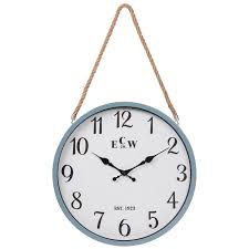 modern blue coastal metal wall clock