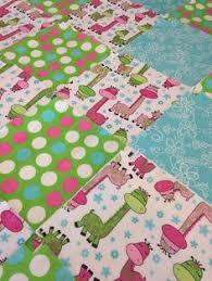 Owl Rag quilt, flannel baby blanket, embroidered owl and flowers ... & Rag quilt kit, Giraffe polka dot 75 fringed Rag quilt kit, baby, 75 pre cut  8.5