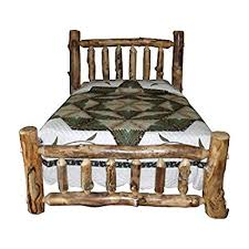 Amazon.com: Rustic Aspen Log Bed Queen Size Mission Style Bed ...