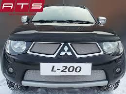 <b>Защита радиатора</b> Mitsubishi L200 2010-2014 <b>black верх</b>