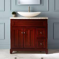 Bathroom. Cherry Wood Vanity Cabinet Having Two Cube Drawers And Dual Swing  Door Panel Plus White Vessel Sink On Whote Marb;e Granite Counter Top With  ...