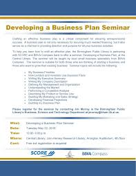 developing a business plan seminar scheduled for may 22 at central library