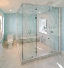 glass enclosed shower bathroom beach style with mosaic tiles