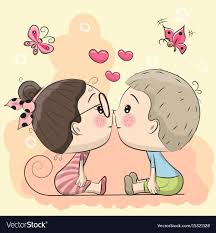 cute cartoon boy and are kissing vector image