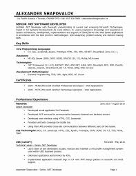 Sample Resume For Dot Net Developer Experience 2 Years New Software