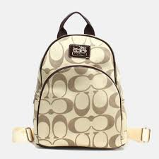 Coach Outlet Logo Monogram Small Apricot Coffee Backpacks FCH