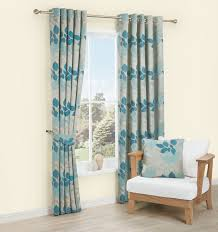 Araxa Duck Egg Taupe Leaves Jacquard Woven Eyelet Lined Curtains