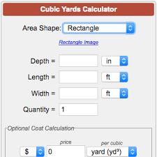 Mulch Calculator Chart Cubic Yards Calculator