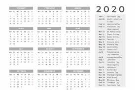 2020 Calendar With Us Holidays Free Printable Calendar 2020 With Holidays Pdf Word Excel