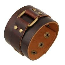 2019 vintage brown leather cuff bracelets male jewelry decoration punk motorcycle wristband 25cm genuine leather bangle wide bracelet from mantous